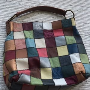 Patchwork Soft Leather Hobo Bag